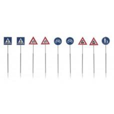 Artitec 387.215 NL Verkehrsschilder: Fußgänger, Fahrrad, Zug 9 Stück