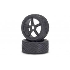 Carson 900076 1:8 On-Road Reifen/Felgen-Set, schwarz