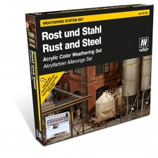Vallejo 770150 Farb-Set, Rost & Stahl, 8 x 17 ml