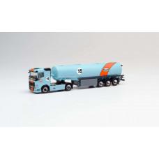 "Herpa 311793 Volvo FH Benzintank-Sattelzug ""Gulf Oil"""