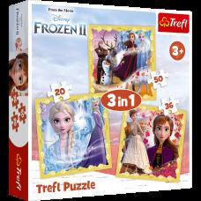 Trefl 34847 Frozen 2, Anna and Elsa Puzzle 3in1