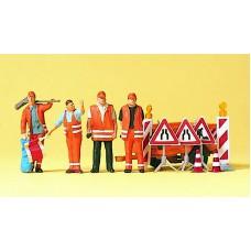 Preiser 10347 Straßendienst 4 Figuren mit Zubehör