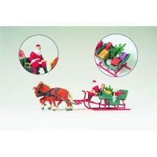 Preiser 30448 Schlitten, Weihnachtsmann, Pakete, Pferdezug