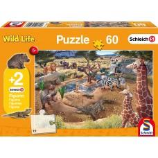 Schleich 56191 Puzzle An der Wasserstelle, Schmidt Spiele