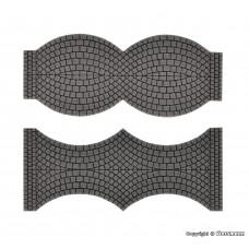 Vollmer 48244 H0 Straßenplatte Kopfsteinpflaster aus Steinkunst, je 2 Endstücke, L 1,7 cm x B 8 cm