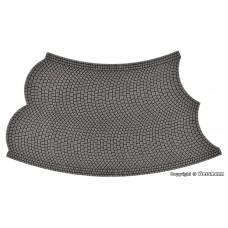 Vollmer 48245 H0 Straßenplatte Kopfsteinpflaster aus Steinkunst, 45°-Kurve, Radius 12 cm
